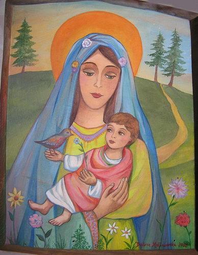 Barbara Malinowska: Madonna z dzieciątkiem i kwiatkami