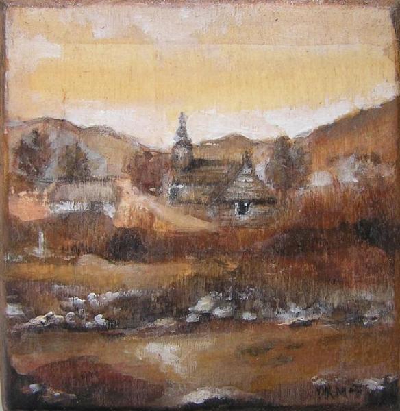 Konsuela Madejska-Turska: Widok na stary kościół, wg fotografii Melecjusza Dutkiewicza, ok. 1860 r.